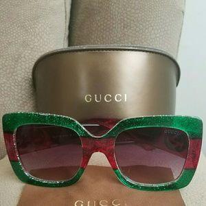Green red Gucci  acetate sunglasses